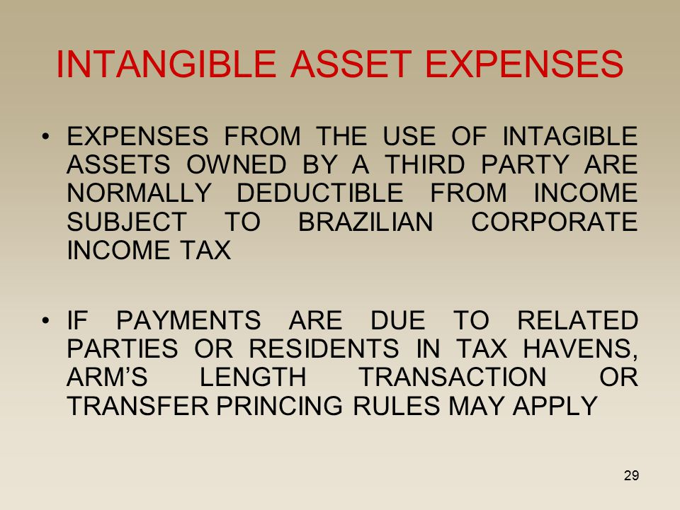 29 INTANGIBLE ASSET EXPENSES EXPENSES FROM THE USE OF INTAGIBLE ASSETS OWNED BY A THIRD PARTY ARE NORMALLY DEDUCTIBLE FROM INCOME SUBJECT TO BRAZILIAN CORPORATE INCOME TAX IF PAYMENTS ARE DUE TO RELATED PARTIES OR RESIDENTS IN TAX HAVENS, ARM'S LENGTH TRANSACTION OR TRANSFER PRINCING RULES MAY APPLY
