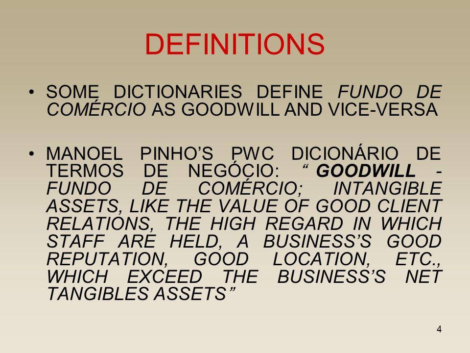 """4 DEFINITIONS SOME DICTIONARIES DEFINE FUNDO DE COMÉRCIO AS GOODWILL AND VICE-VERSA MANOEL PINHO'S PWC DICIONÁRIO DE TERMOS DE NEGÓCIO: """"GOODWILL - FU"""