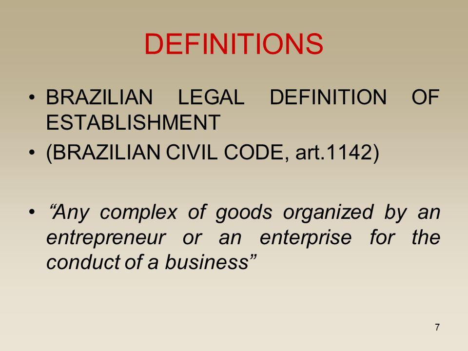 "7 DEFINITIONS BRAZILIAN LEGAL DEFINITION OF ESTABLISHMENT (BRAZILIAN CIVIL CODE, art.1142) ""Any complex of goods organized by an entrepreneur or an en"