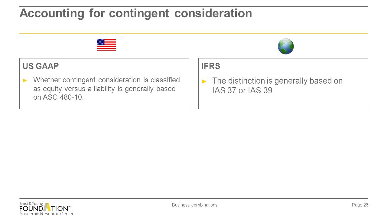 Academic Resource Center Business combinations Page 26 Accounting for contingent consideration IFRS ► The distinction is generally based on IAS 37 or
