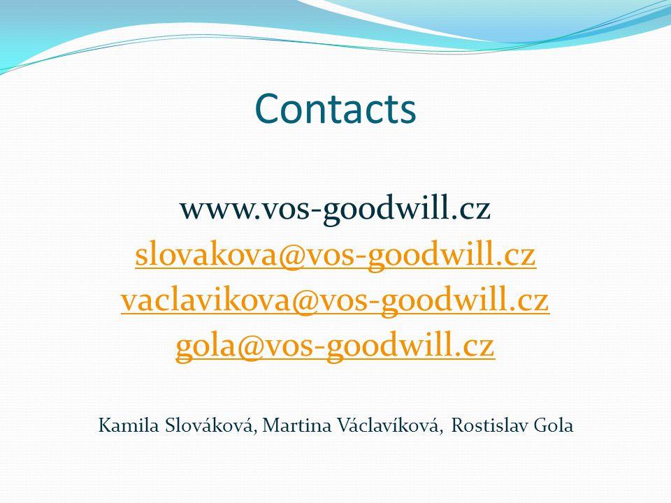 Contacts www.vos-goodwill.cz slovakova@vos-goodwill.cz vaclavikova@vos-goodwill.cz gola@vos-goodwill.cz Kamila Slováková, Martina Václavíková, Rostislav Gola
