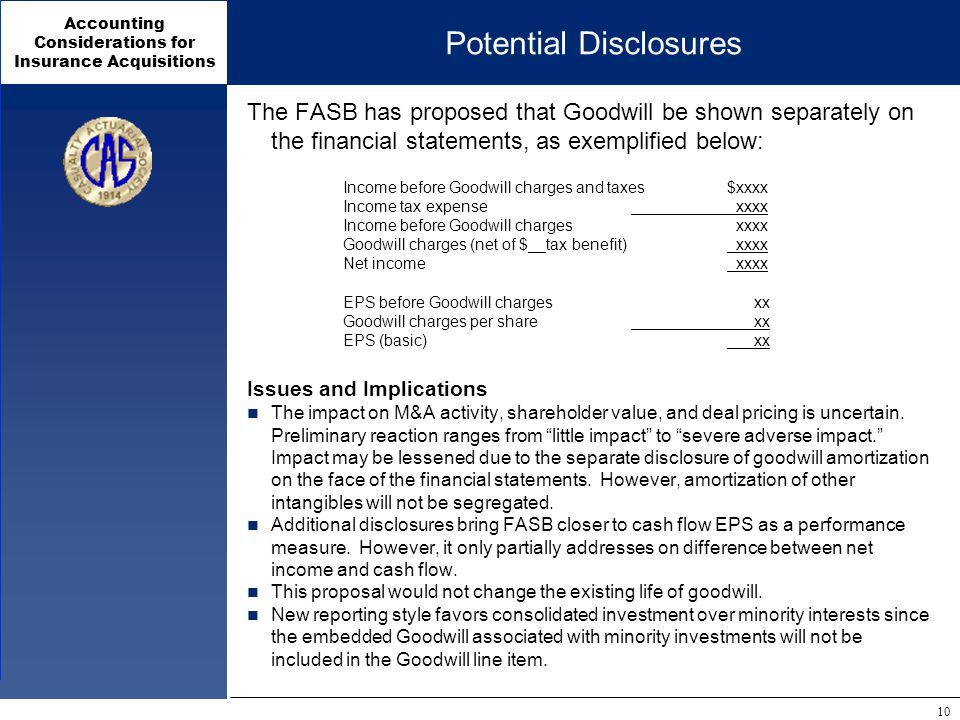 Accounting Considerations for Insurance Acquisitions 10 Potential Disclosures The FASB has proposed that Goodwill be shown separately on the financial statements, as exemplified below: Income before Goodwill charges and taxes$xxxx Income tax expense xxxx Income before Goodwill charges xxxx Goodwill charges (net of $__tax benefit) xxxx Net income xxxx EPS before Goodwill charges xx Goodwill charges per share xx EPS (basic) xx Issues and Implications The impact on M&A activity, shareholder value, and deal pricing is uncertain.