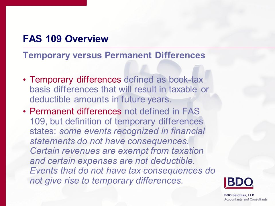 FAS 109 Overview The formula… Ending Deferred Taxes less Beginning Deferred Taxes equals Deferred Tax Expense/Benefit plus Current Taxes Payable equals Book Tax Expense/Benefit