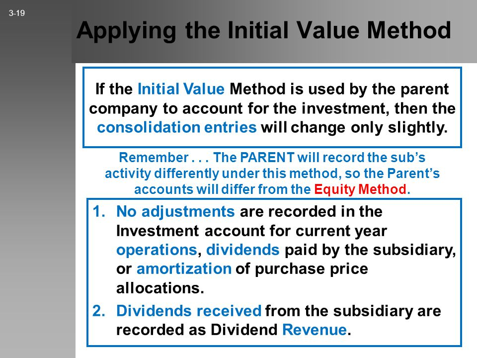 Subsequent Consolidation – Equity Method – Example Entry E 3-18 Remember: Never amortize land or goodwill! Amortization Expense......... 13,000 Equipm