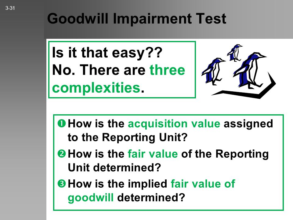 Goodwill Impairment – Two-Step Test 3-30 Step 2 Is the fair value of Goodwill less than its carrying value? If NO, then Goodwill is NOT impaired, and