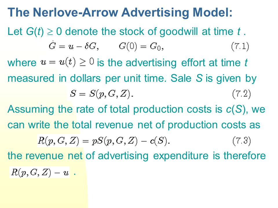The Nerlove-Arrow Advertising Model: Let G(t)  0 denote the stock of goodwill at time t. where is the advertising effort at time t measured in dollar