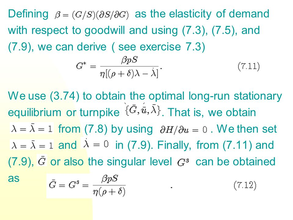 Defining as the elasticity of demand with respect to goodwill and using (7.3), (7.5), and (7.9), we can derive ( see exercise 7.3) We use (3.74) to ob