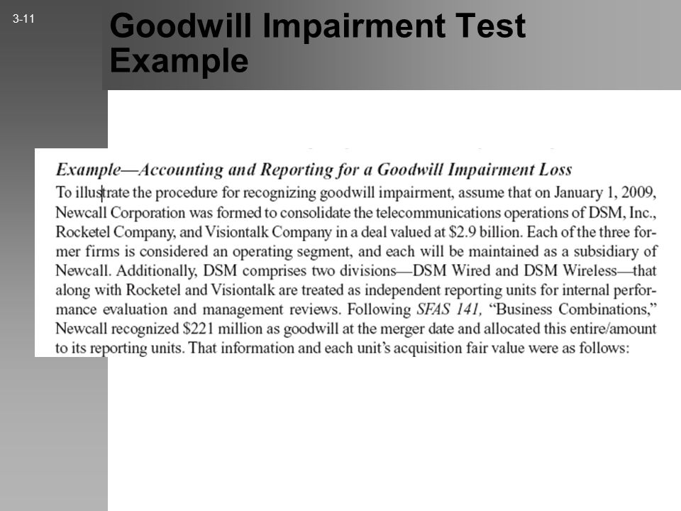 Goodwill Impairment Test Example 3-11