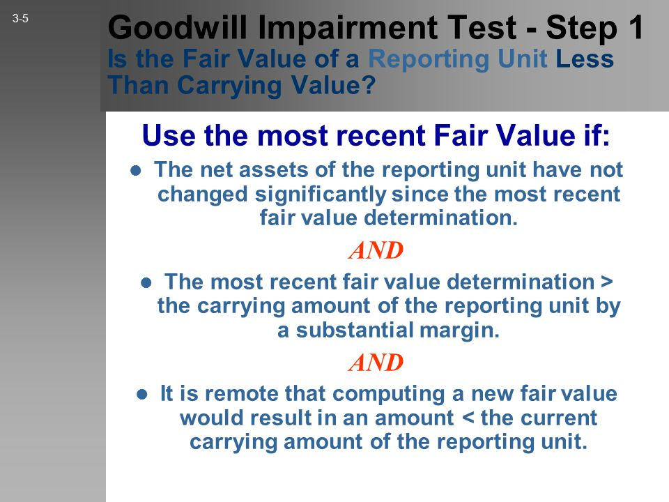 Goodwill Impairment Test - Step 1 Is the Fair Value of a Reporting Unit Less Than Carrying Value.