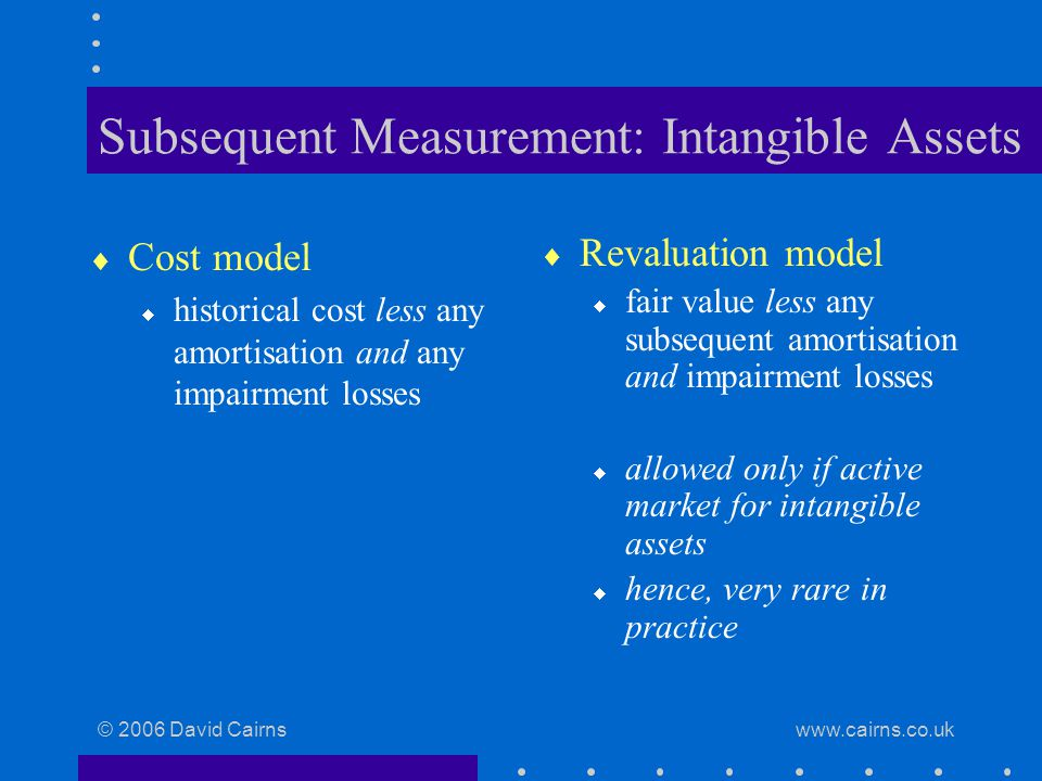© 2006 David Cairns www.cairns.co.uk Subsequent Measurement: Intangible Assets  Cost model  historical cost less any amortisation and any impairment losses  Revaluation model  fair value less any subsequent amortisation and impairment losses  allowed only if active market for intangible assets  hence, very rare in practice