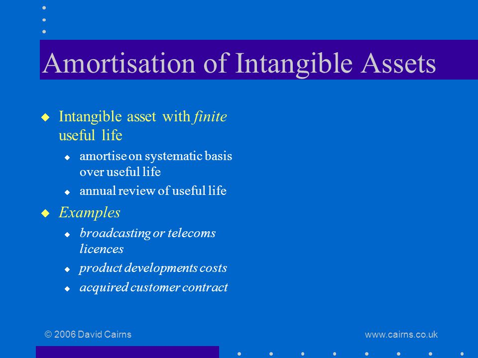 © 2006 David Cairns www.cairns.co.uk Amortisation of Intangible Assets  Intangible asset with finite useful life  amortise on systematic basis over useful life  annual review of useful life  Examples  broadcasting or telecoms licences  product developments costs  acquired customer contract