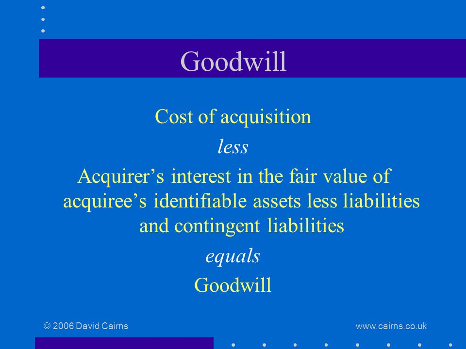 © 2006 David Cairns www.cairns.co.uk Goodwill Cost of acquisition less Acquirer's interest in the fair value of acquiree's identifiable assets less liabilities and contingent liabilities equals Goodwill