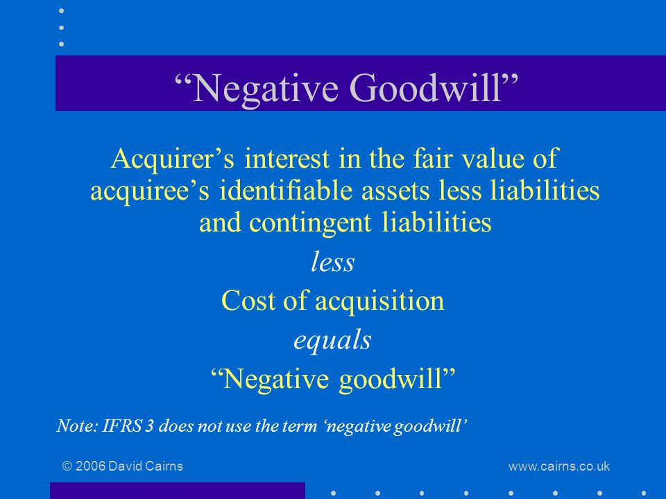 © 2006 David Cairns www.cairns.co.uk Negative Goodwill Acquirer's interest in the fair value of acquiree's identifiable assets less liabilities and contingent liabilities less Cost of acquisition equals Negative goodwill Note: IFRS 3 does not use the term 'negative goodwill'