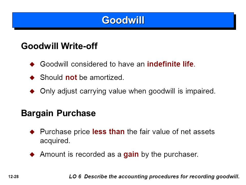 12-28 GoodwillGoodwill Goodwill Write-off   Goodwill considered to have an indefinite life.
