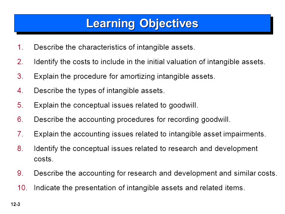 12-3 1. 1.Describe the characteristics of intangible assets.