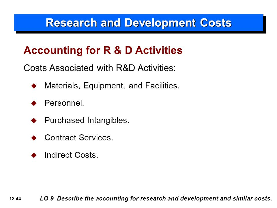 12-44 Accounting for R & D Activities Costs Associated with R&D Activities:   Materials, Equipment, and Facilities.   Personnel.   Purchased Int