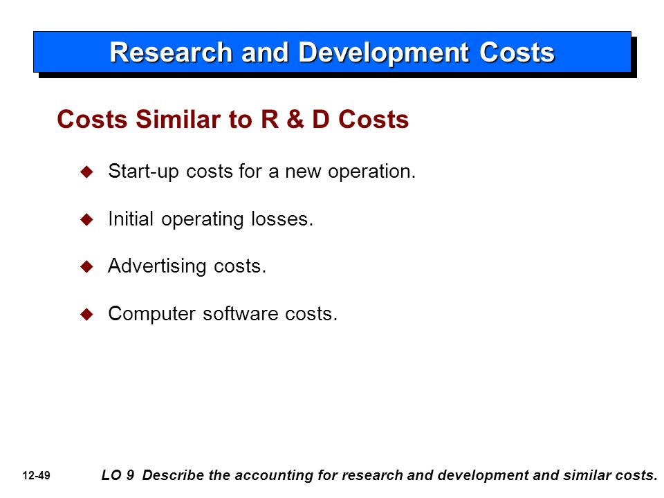 12-49 Costs Similar to R & D Costs   Start-up costs for a new operation.   Initial operating losses.   Advertising costs.   Computer software