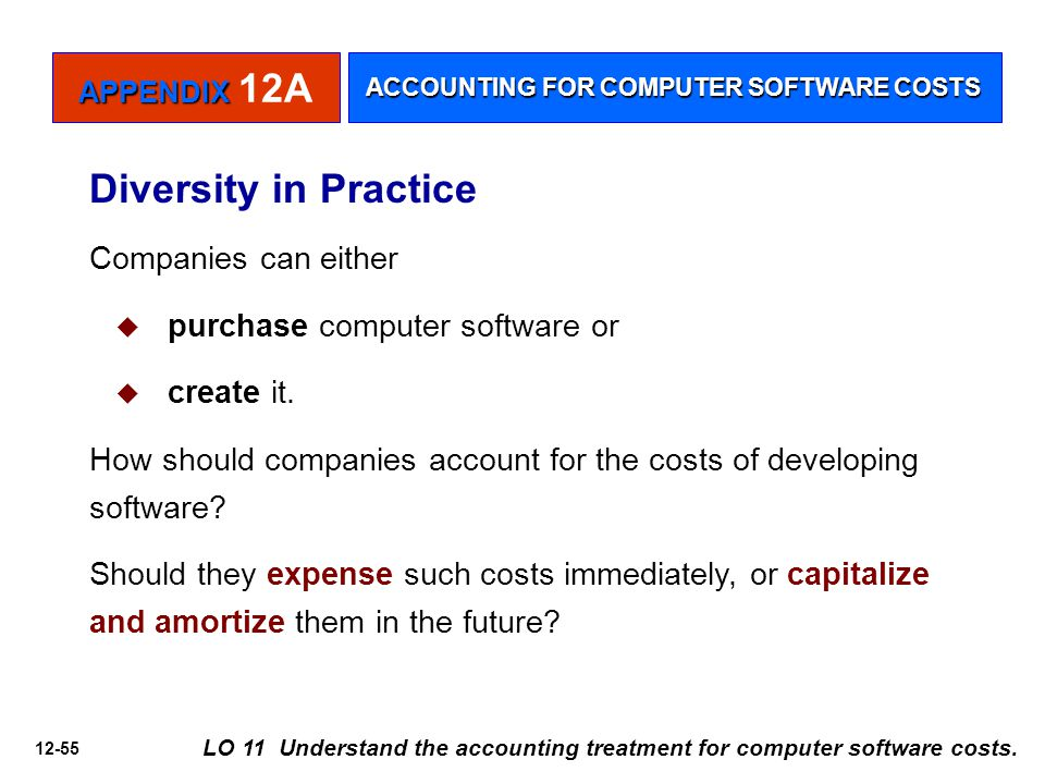 12-55 LO 11 Understand the accounting treatment for computer software costs. Diversity in Practice Companies can either   purchase computer software