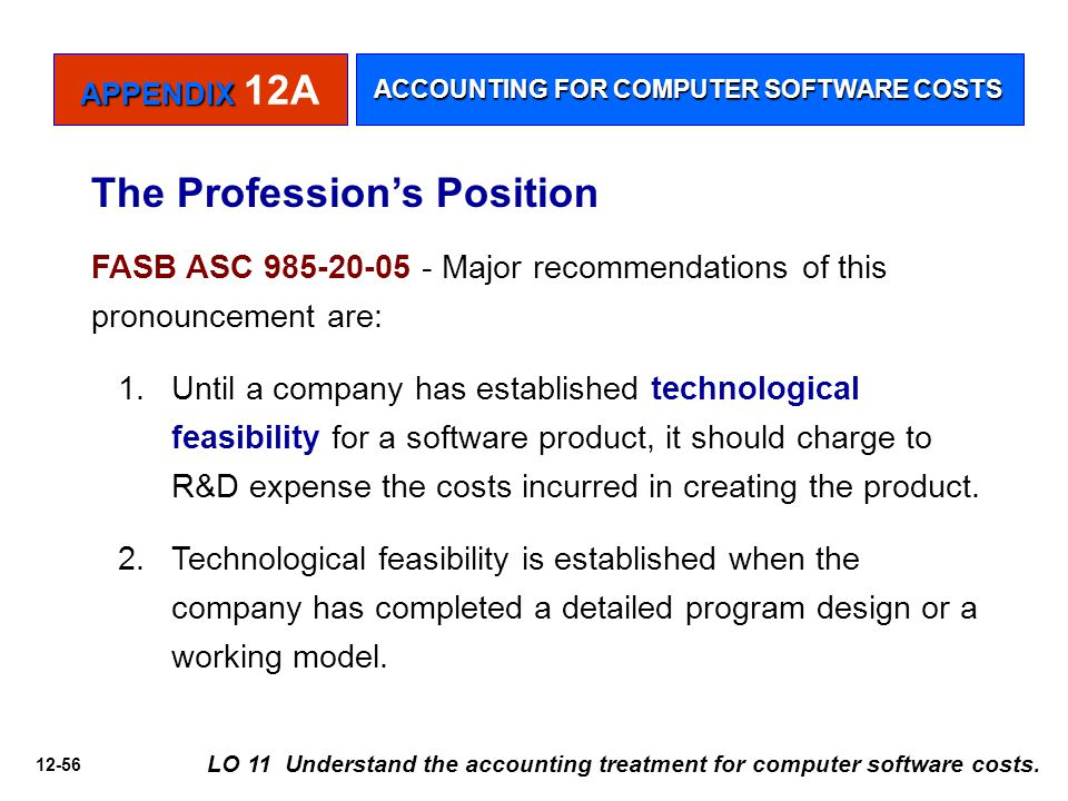 12-56 LO 11 Understand the accounting treatment for computer software costs.