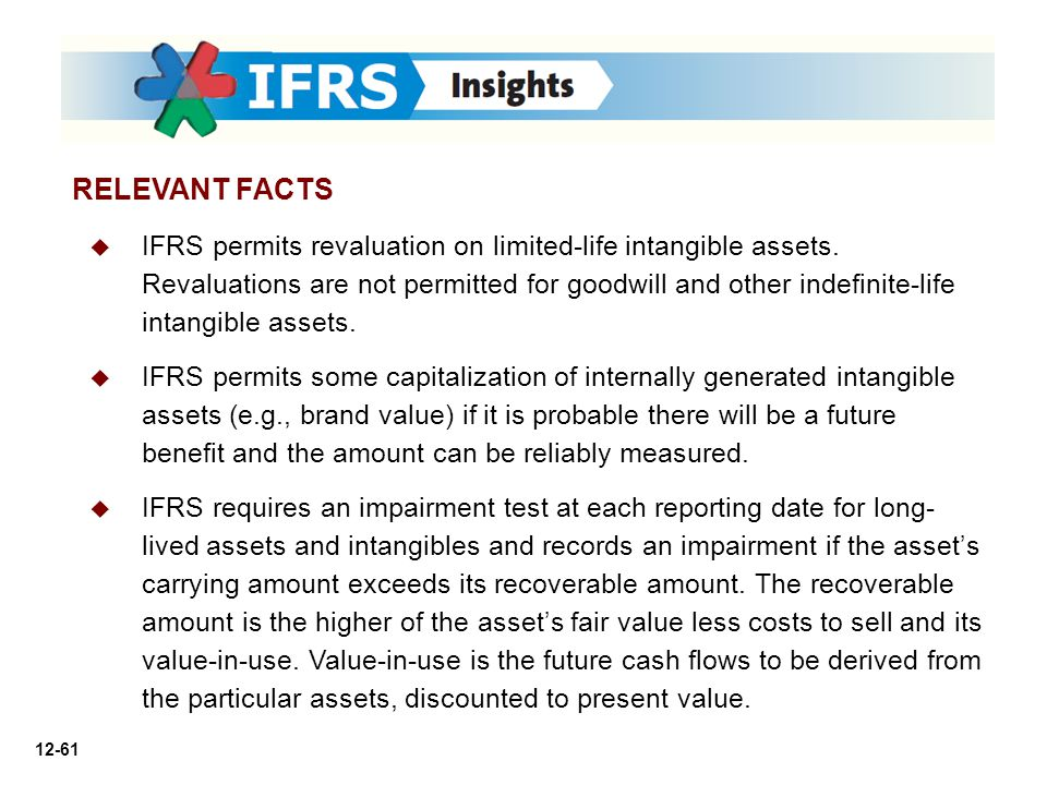 12-61 RELEVANT FACTS   IFRS permits revaluation on limited-life intangible assets. Revaluations are not permitted for goodwill and other indefinite-