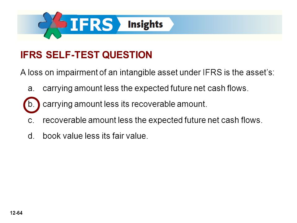 12-64 A loss on impairment of an intangible asset under IFRS is the asset's: a. a.carrying amount less the expected future net cash flows. b. b.carryi