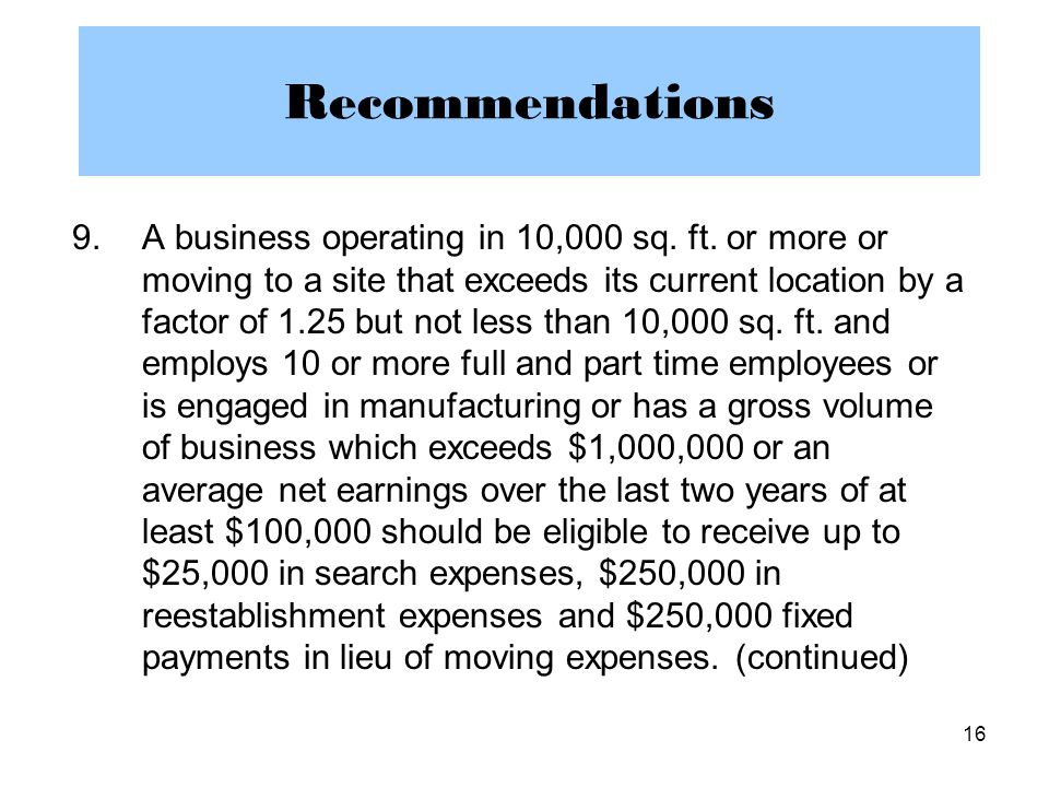 16 Recommendations 9.A business operating in 10,000 sq.