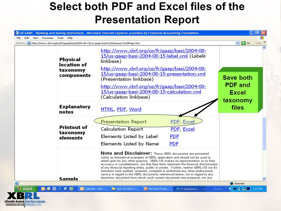 Select both PDF and Excel files of the Presentation Report Save both PDF and Excel taxonomy files