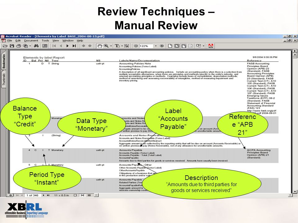 Review Techniques – Manual Review Data Type Monetary Balance Type Credit Period Type Instant Label Accounts Payable Description Amounts due to third parties for goods or services received Referenc e APB 21