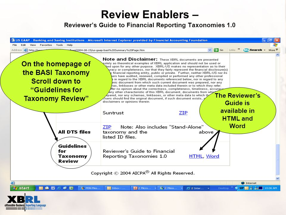 Review Enablers – Reviewer's Guide to Financial Reporting Taxonomies 1.0 On the homepage of the BASI Taxonomy Scroll down to Guidelines for Taxonomy Review The Reviewer's Guide is available in HTML and Word