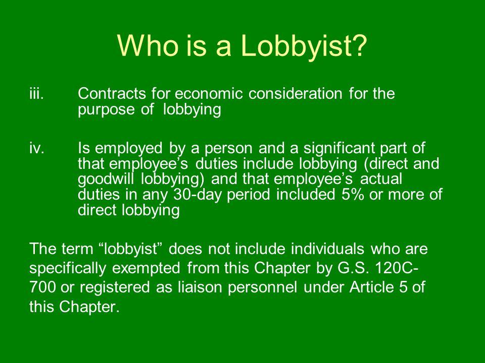 Who is a Lobbyist. iii.