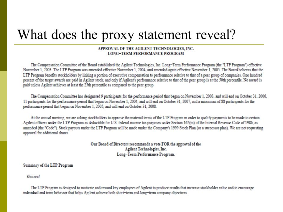 What does the proxy statement reveal