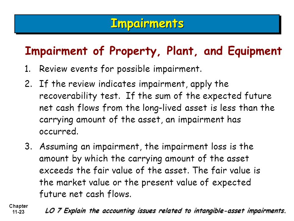 Chapter 11-23 ImpairmentsImpairments Impairment of Property, Plant, and Equipment 1.Review events for possible impairment.