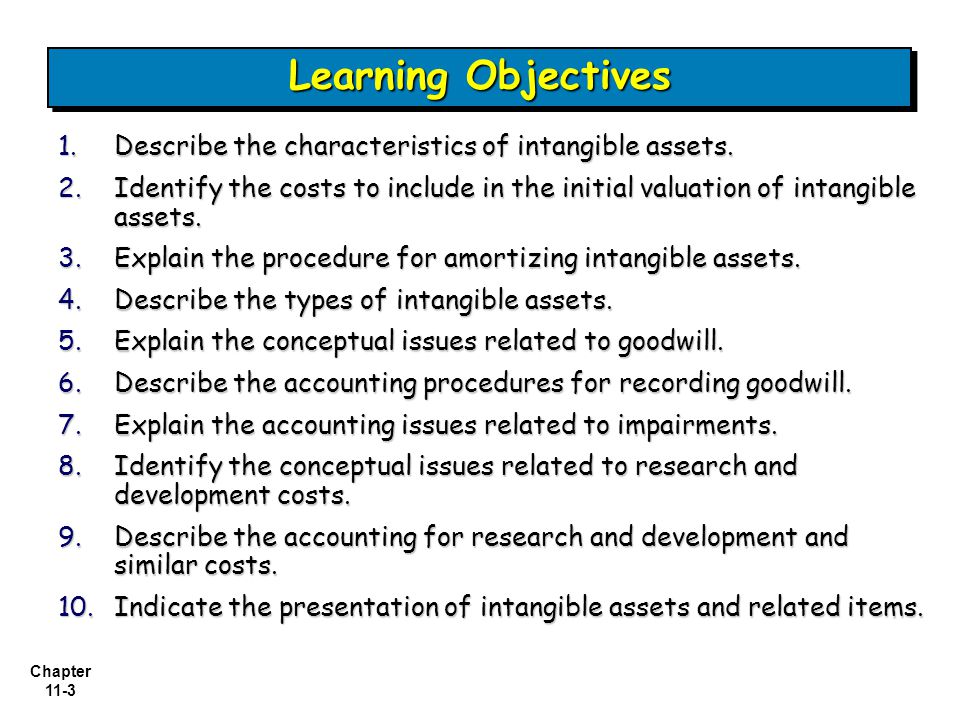 Chapter 11-3 1.Describe the characteristics of intangible assets.