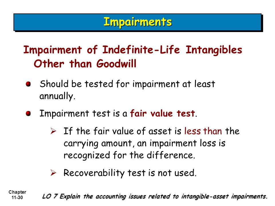 Chapter 11-30 Impairment of Indefinite-Life Intangibles Other than Goodwill LO 7 Explain the accounting issues related to intangible-asset impairments.