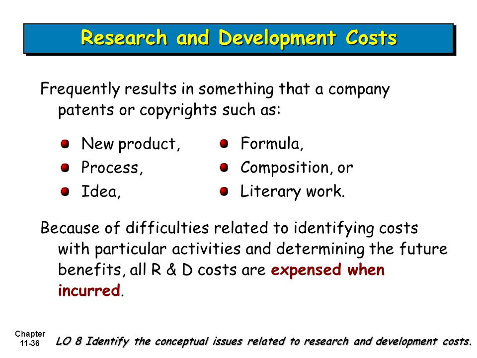 Chapter 11-36 Research and Development Costs LO 8 Identify the conceptual issues related to research and development costs.