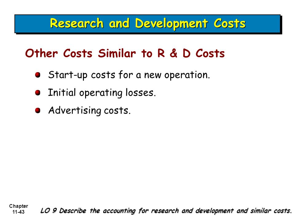 Chapter 11-43 Other Costs Similar to R & D Costs Start-up costs for a new operation.
