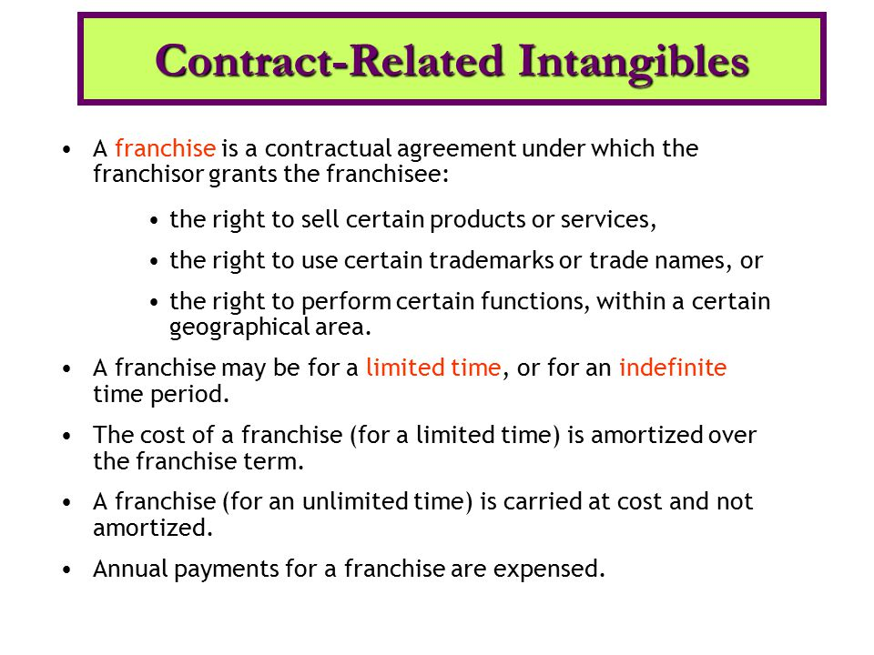 A franchise is a contractual agreement under which the franchisor grants the franchisee: the right to sell certain products or services, the right to