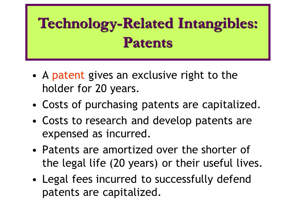A patent gives an exclusive right to the holder for 20 years. Costs of purchasing patents are capitalized. Costs to research and develop patents are e
