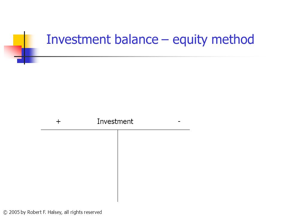 © 2005 by Robert F. Halsey, all rights reserved Investment balance – equity method + Investment -