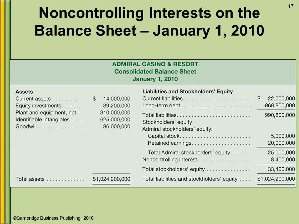 ©Cambridge Business Publishing, 2010 Noncontrolling Interests on the Balance Sheet – January 1, 2010 17