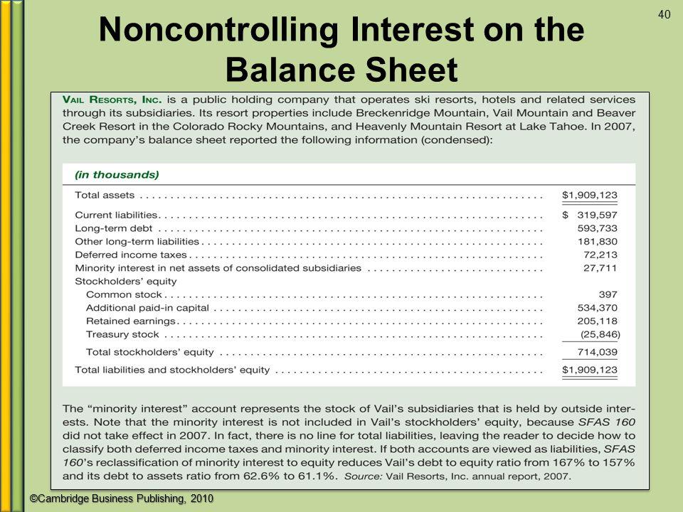 ©Cambridge Business Publishing, 2010 Noncontrolling Interest on the Balance Sheet 40