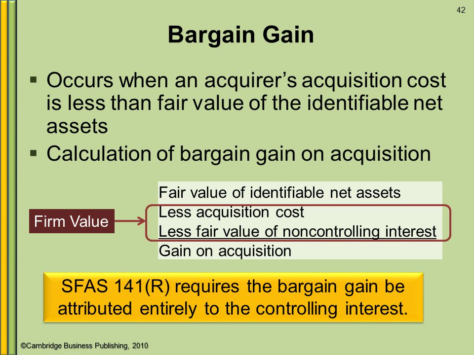 ©Cambridge Business Publishing, 2010 Bargain Gain 42  Occurs when an acquirer's acquisition cost is less than fair value of the identifiable net assets  Calculation of bargain gain on acquisition Fair value of identifiable net assets Less acquisition cost Less fair value of noncontrolling interest Gain on acquisition Firm Value SFAS 141(R) requires the bargain gain be attributed entirely to the controlling interest.