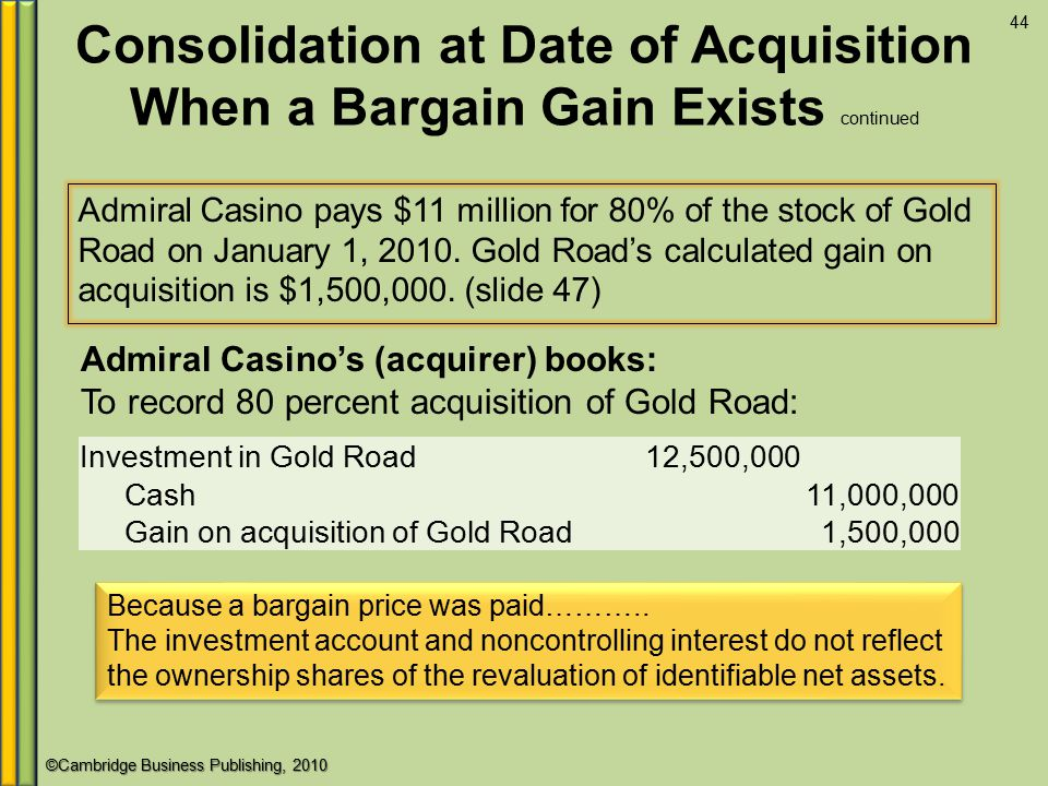 ©Cambridge Business Publishing, 2010 Consolidation at Date of Acquisition When a Bargain Gain Exists continued Admiral Casino pays $11 million for 80% of the stock of Gold Road on January 1, 2010.
