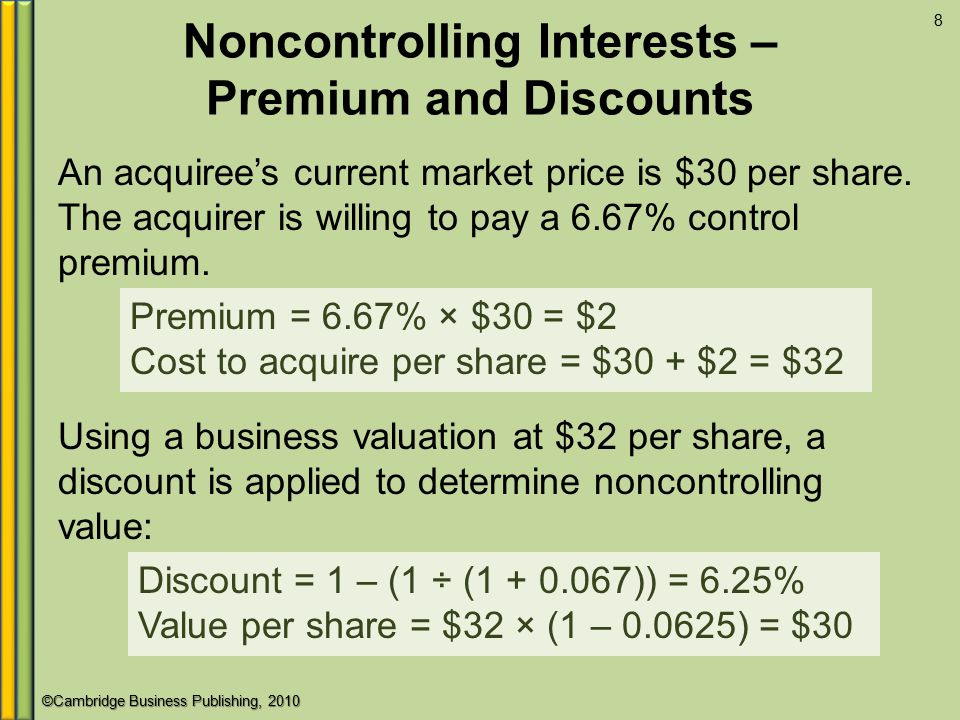 ©Cambridge Business Publishing, 2010 Noncontrolling Interests – Premium and Discounts An acquiree's current market price is $30 per share.
