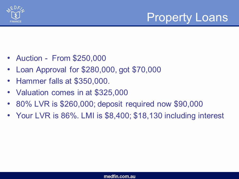 Property Loans Auction - From $250,000 Loan Approval for $280,000, got $70,000 Hammer falls at $350,000.