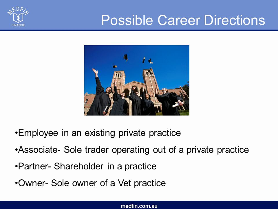 Possible Career Directions Employee in an existing private practice Associate- Sole trader operating out of a private practice Partner- Shareholder in a practice Owner- Sole owner of a Vet practice