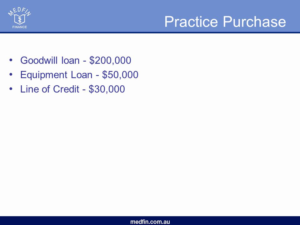 Practice Purchase Goodwill loan - $200,000 Equipment Loan - $50,000 Line of Credit - $30,000