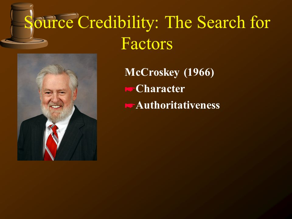 Source Credibility: The Search for Factors Berlo (1966) *Trustworthiness *Competence *Dynamism