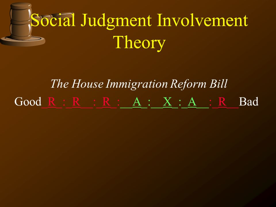 Social Judgment Involvement Theory The House Immigration Reform Bill Good___:____:____:__A_:__X_:_A__:____Bad