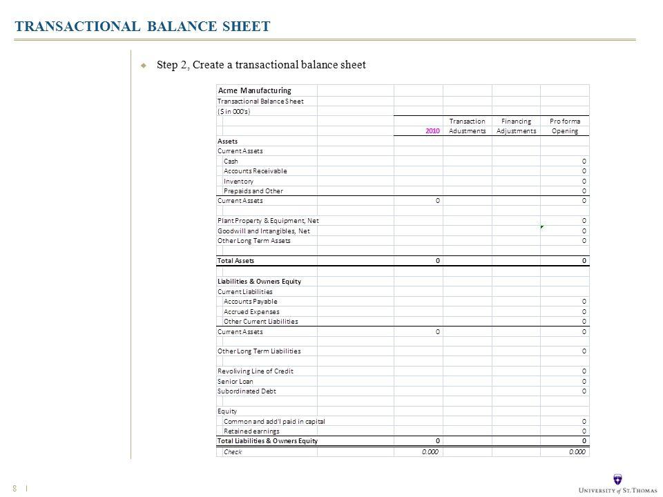 8  Step 2, Create a transactional balance sheet TRANSACTIONAL BALANCE SHEET